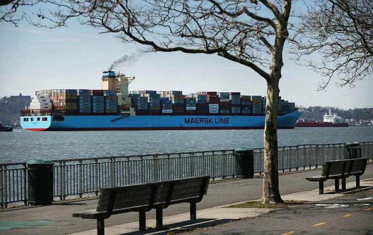 A cargo ship arrives at New York's harbor.