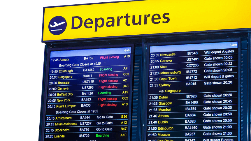An airport departures board showing delays at Heathrow.