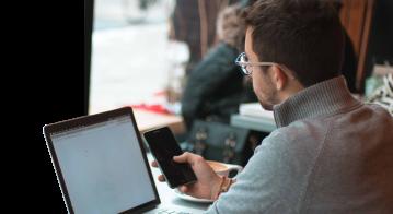 Man working on laptop.