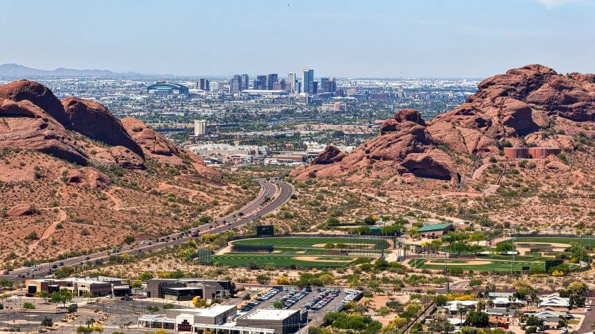 Downtown Phoenix, Arizona aerial view from Scottsdale