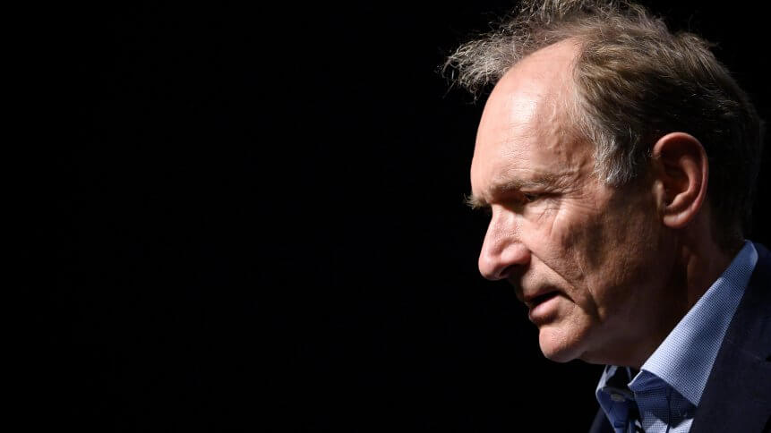 "World Wide Web inventor Tim Berners-Lee takes part in a session entitled: ""Thirty Years On: Let the Web Serve Humanity"""