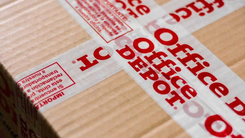 Office Depot logotype printed on cardboard box security scotch tape
