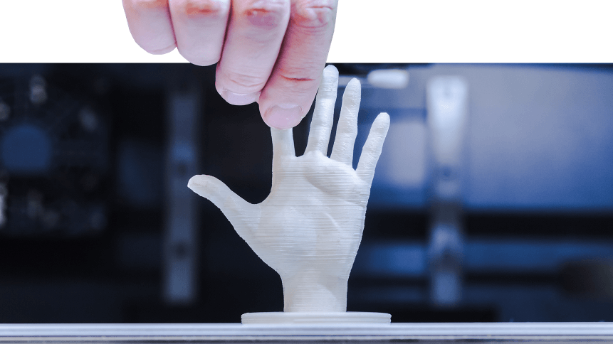 3D printer creates a human hand.