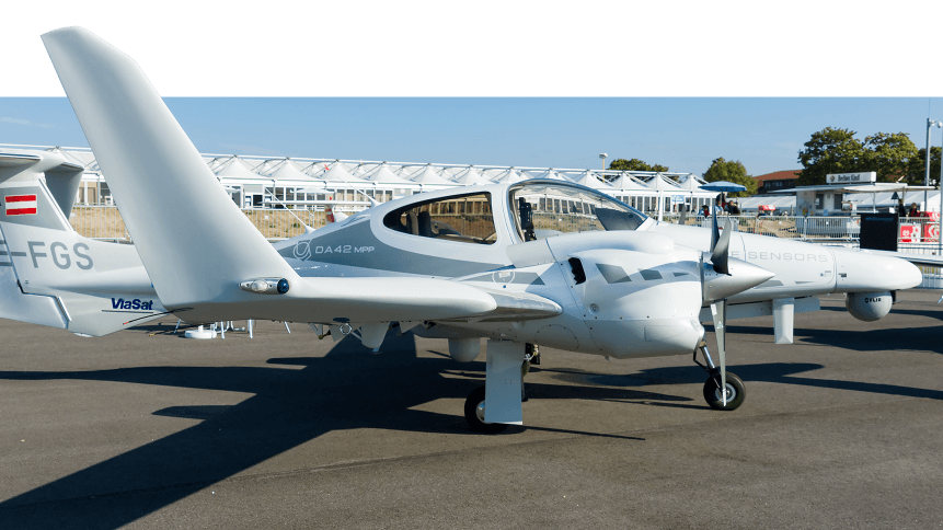 A Diamond DA42 aircraft, as used in the autonomous plane test.