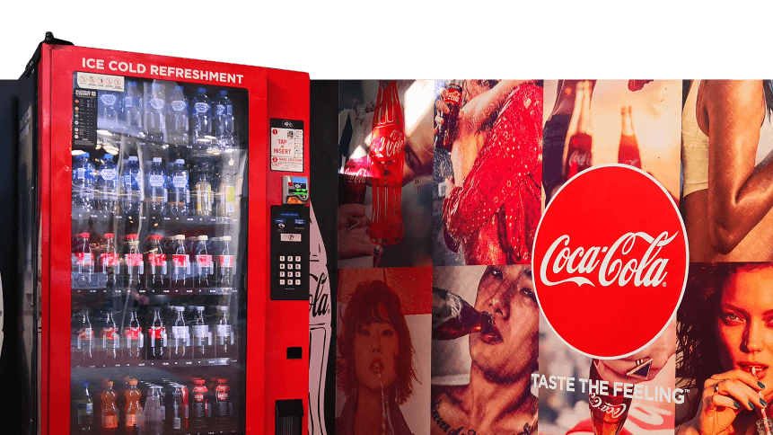 Coca-cola's smart vending machine captures user data to help the company make better mixes. Source: Shutterstock
