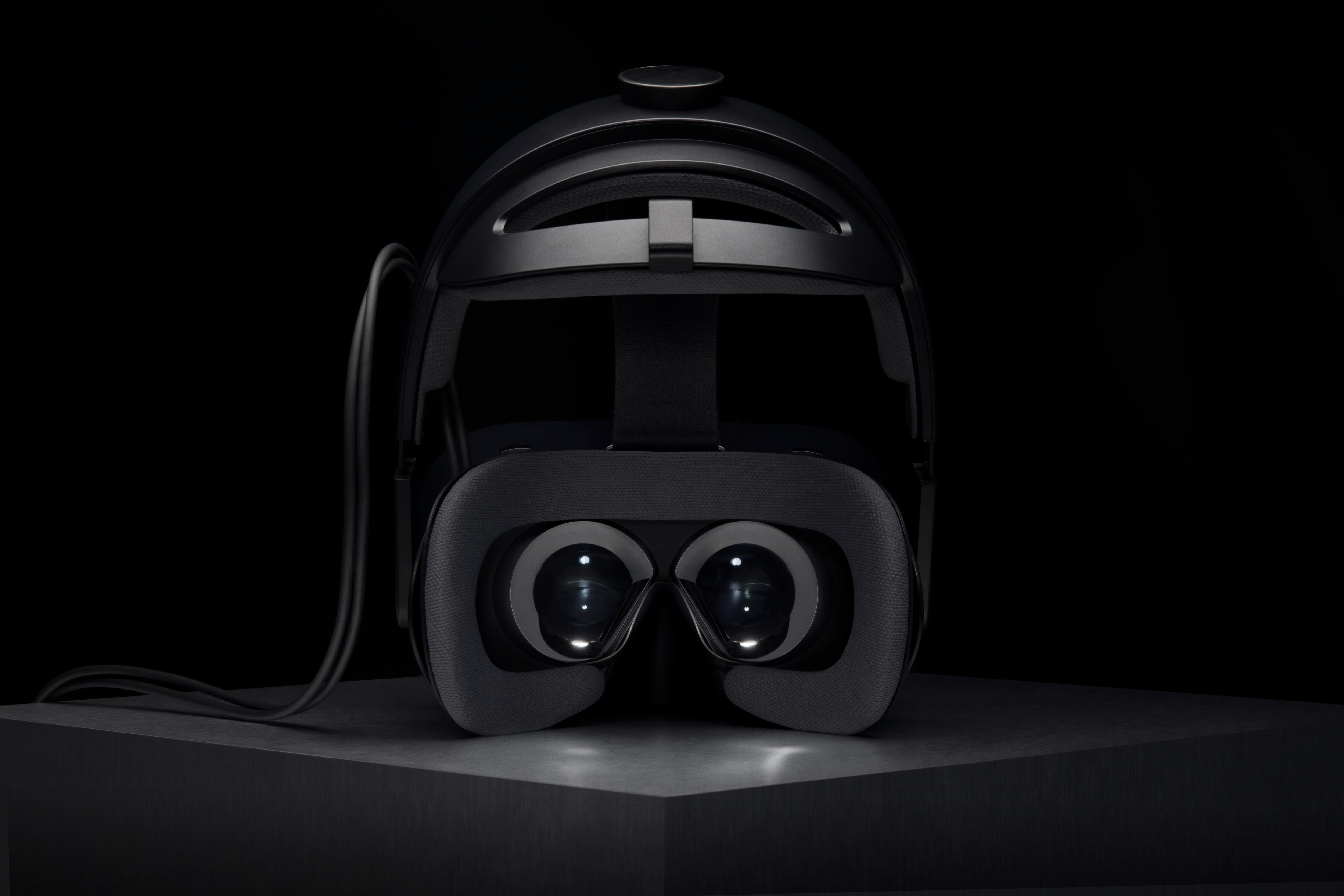 'Human-eye resolution'. The Varjo VR-1 headset with helmet attached.