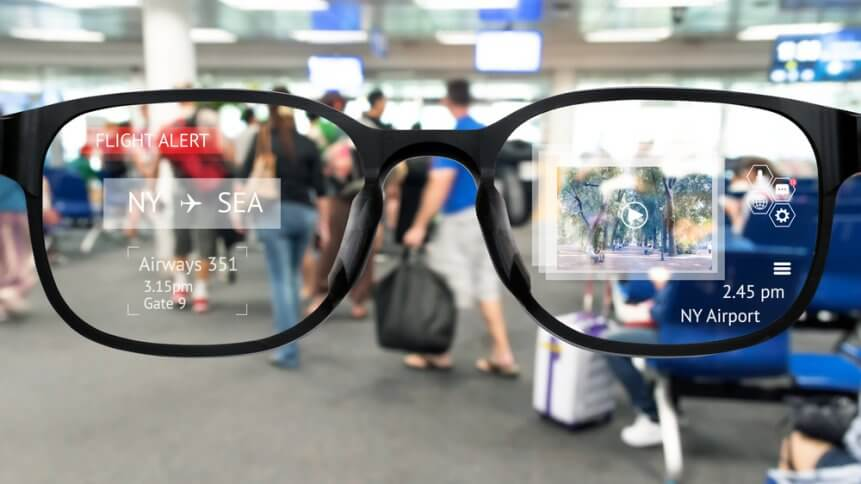 Augmented reality marketing and smart AR glasses technology concept