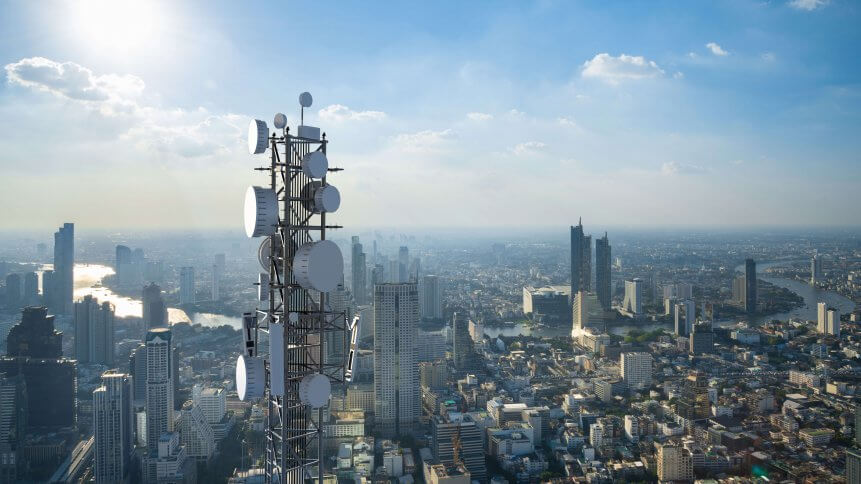 Telecommunication tower with 5G cellular network antenna. Source: Shutterstock