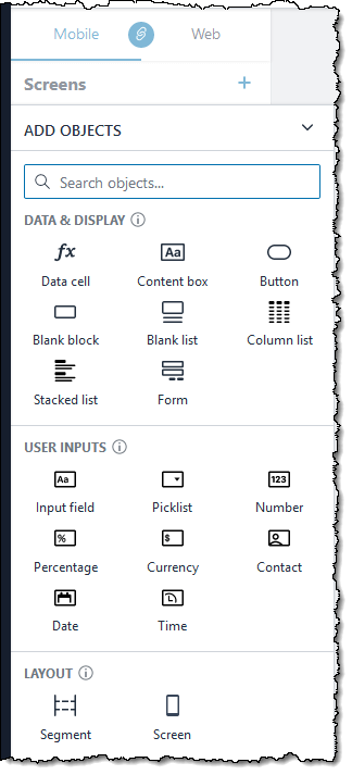 rich palette of user interface objects