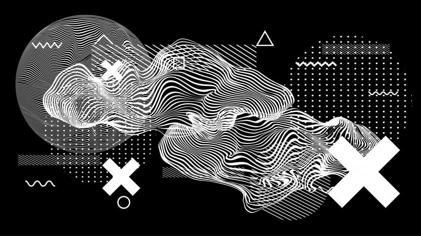 Abstract minimal vector black and white poster template with glitched generative art geometric composition.