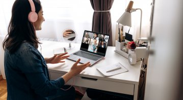 Female student remote learning