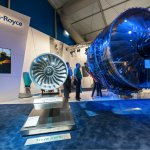 Exhibition by Rolls-Royce of the latest Trent 1000 jet engine at the Farnborough Airshow, UK on July 12, 2012
