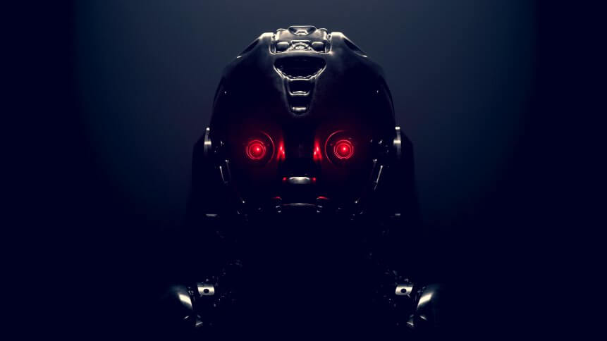 Cyborg with red luminous eyes on black background. Front view of science fiction cyborg with a shiny dark metal. Robot with artificial intelligence. Robot man with artificial metal face. 3D rendering