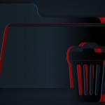 Paper cut Delete folder icon isolated on black background. Folder with recycle bin. Delete or error folder. Close computer information folder. Paper art style. Vector Illustration