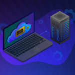 Cloud Web hosting - storage personal data center icon. Online hybrid, public and private secure cloud computing sync technology with upload and download, management and synchronization.