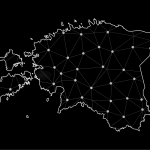 Wire frame 3D mesh polygonal network line, design sphere, dot and structure. communications map of estonia. Vector, Abstract mash line and point scales on dark background with Map of estonia.