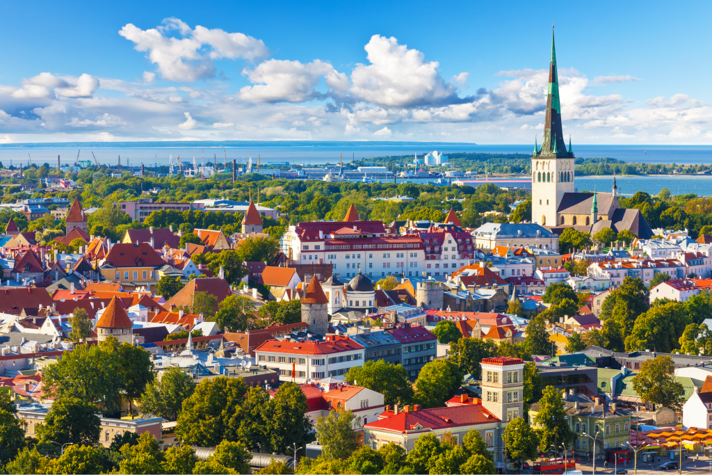 Scenic summer aerial panorama of the Old Town in Tallinn, Estonia