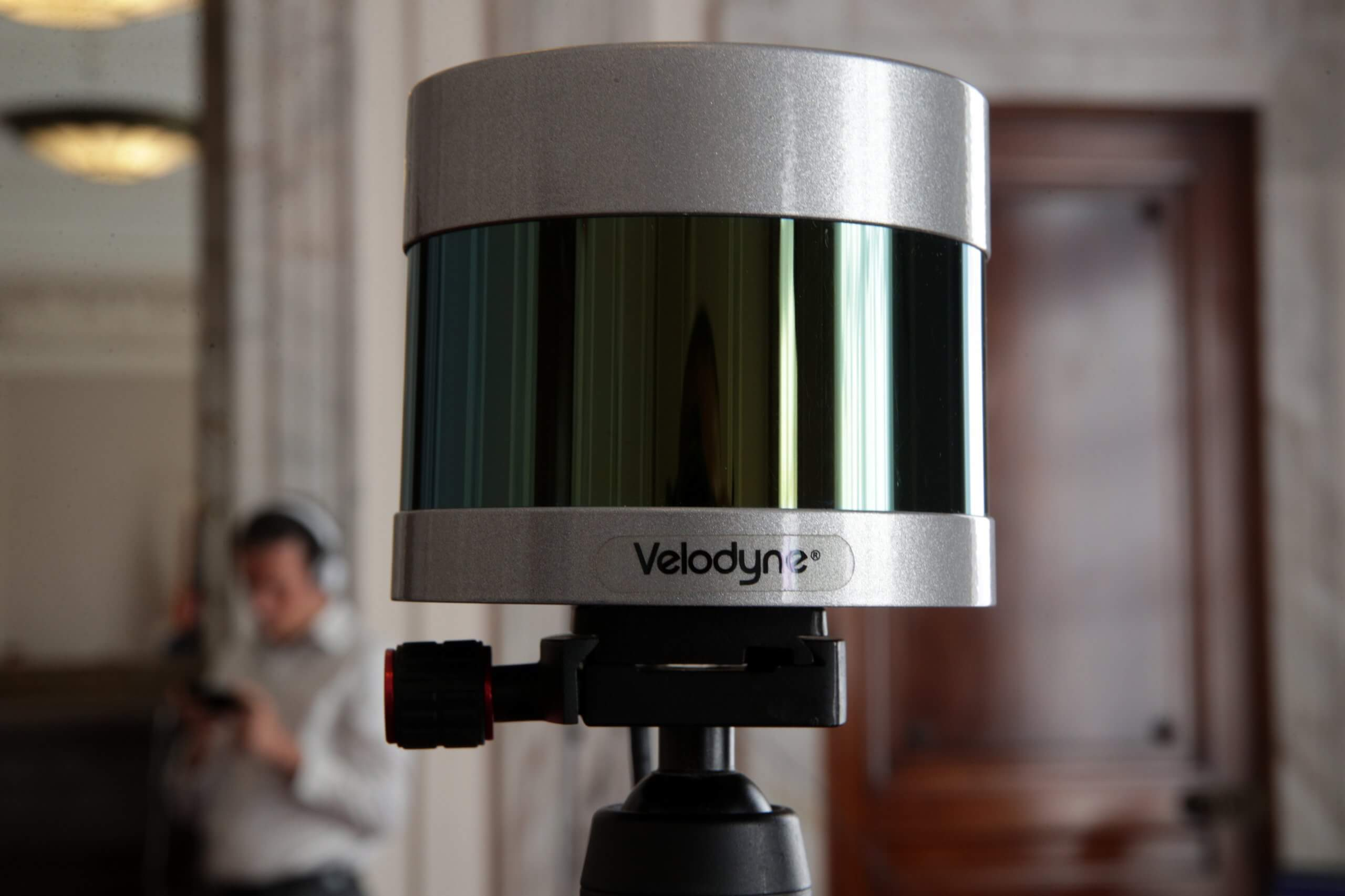 A LiDAR, or light detection and ranging, is on display during a briefing on autonomous vehicles and a technology demonstration