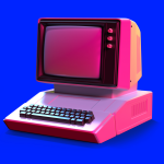 Old-fashioned personal computer in retro 80s style. 3d illustration