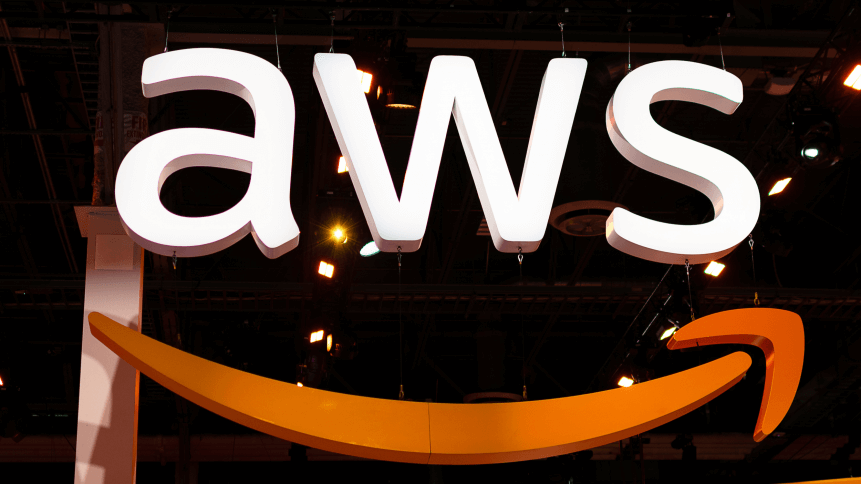 Large AWS sign. Amazon Web Services (AWS) is a subsidiary of Amazon that provides on-demand cloud computing platforms for its customers