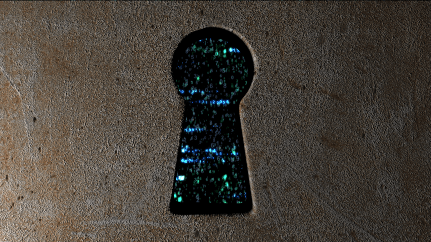 Security concept: hex code and binary code in the keyhole. cybersecurity. Protect code.