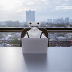 Robots work for humans office business RPA Robotic Process Automation
