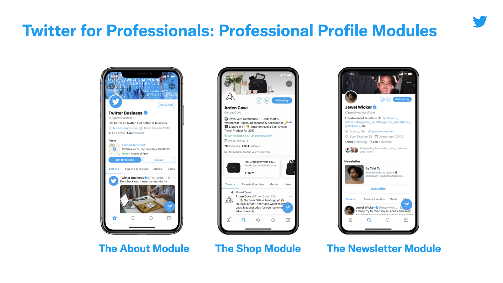 Twitter Profiles was first introduced in April 2021 with the About Module